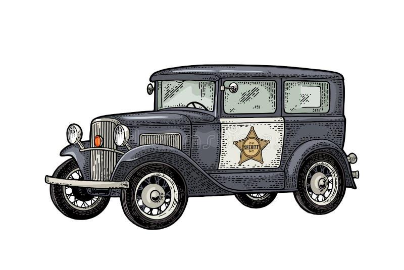 Retro sedan för polisbil med sheriffstjärnan Tappningfärggravyr royaltyfri illustrationer