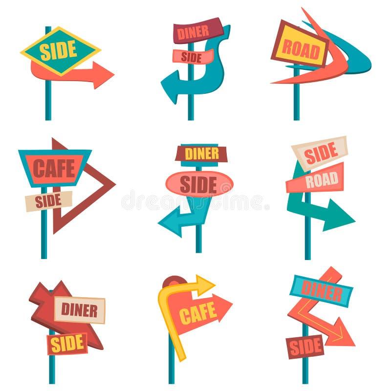 Retro segnali stradali Insieme d'annata del tabellone per le affissioni Illustrazione di vettore illustrazione vettoriale