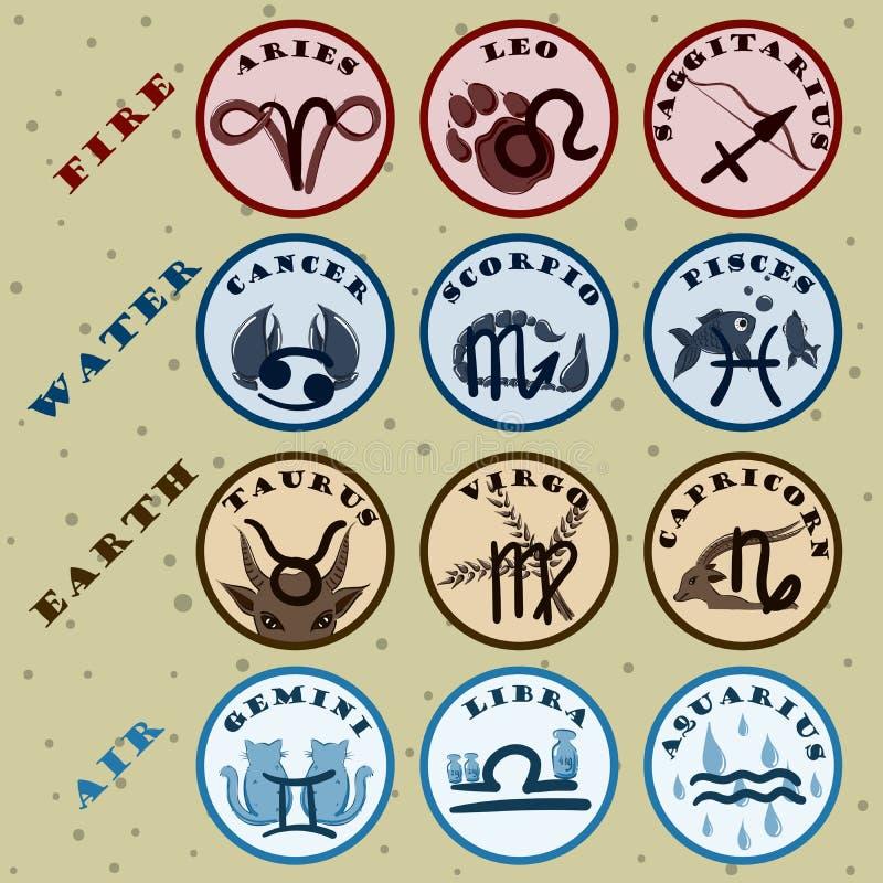 Retro segni dello zodiaco di vettore messi illustrazione di stock