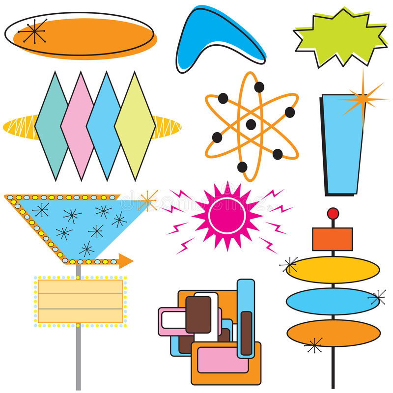 Retro segni e simboli di pubblicità royalty illustrazione gratis