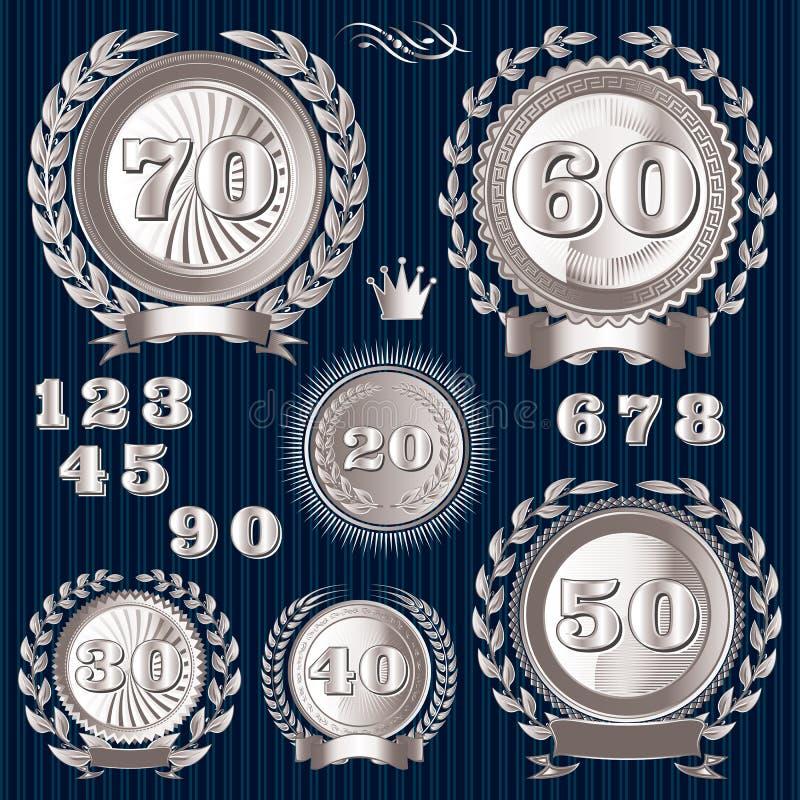 Retro segni stabiliti per l'anniversario illustrazione vettoriale