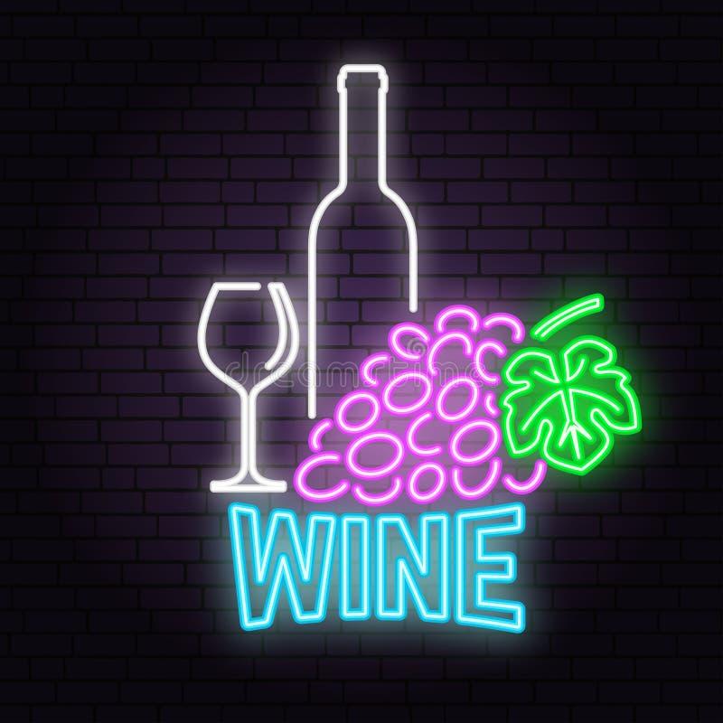 Retro segno al neon del vino sul fondo del muro di mattoni illustrazione di stock