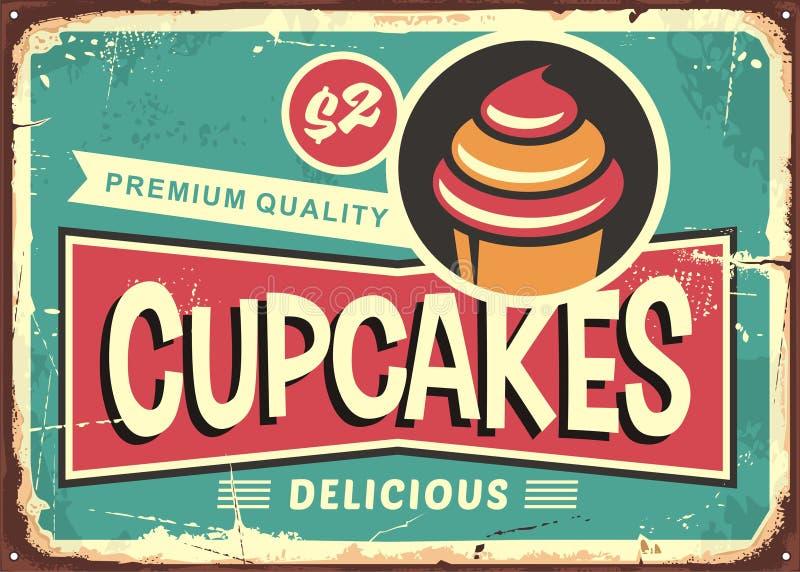 Retro segno dei bigné deliziosi per il negozio della caramella royalty illustrazione gratis