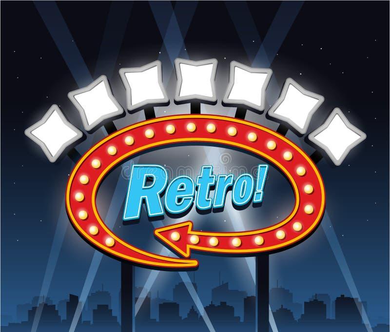 Retro segno del cinema del teatro di Showtime del motel royalty illustrazione gratis