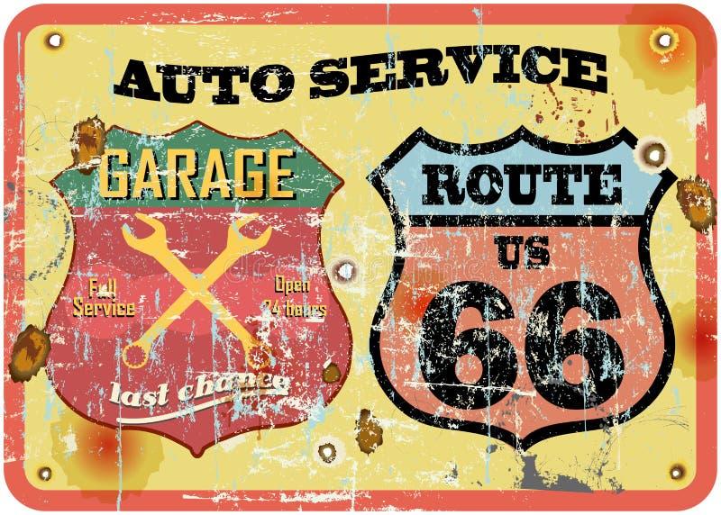 Retro segno del garage illustrazione vettoriale