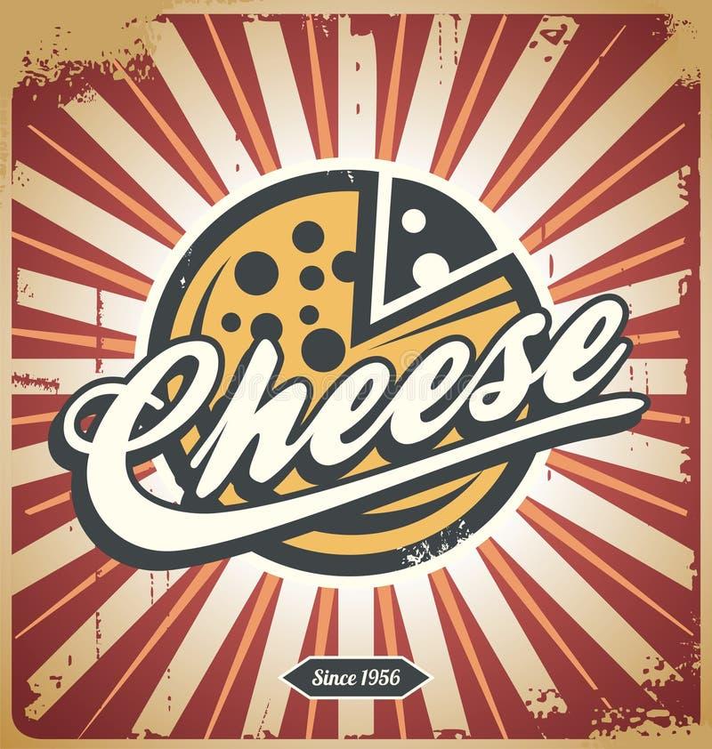 Retro segno del metallo del formaggio illustrazione di stock