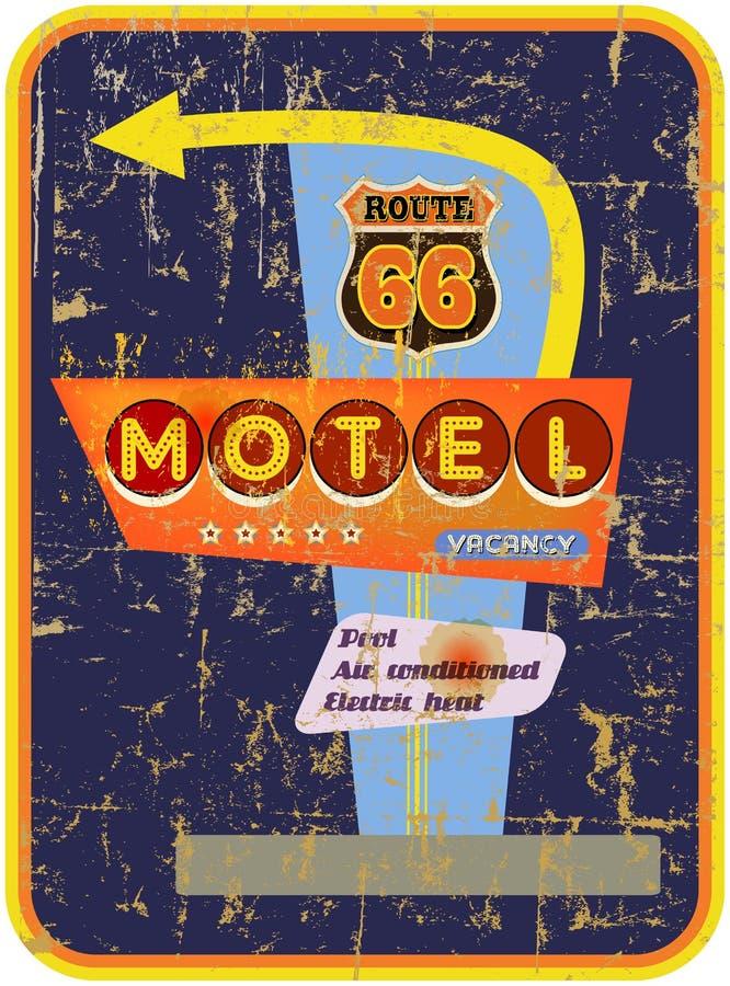 Retro segno del motel dell'itinerario 66 illustrazione di stock