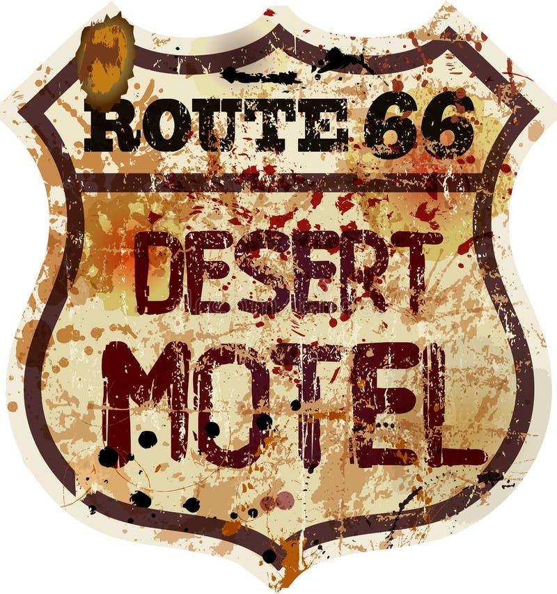 Retro segno del motel dell'itinerario 66 illustrazione vettoriale