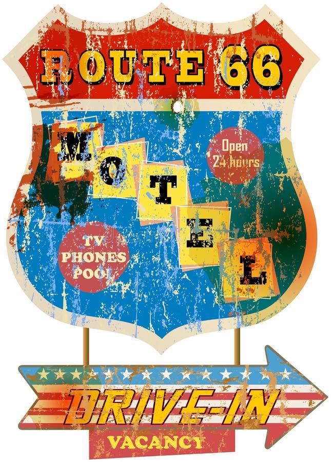 Retro segno del motel dell'itinerario 66, illustrazione vettoriale