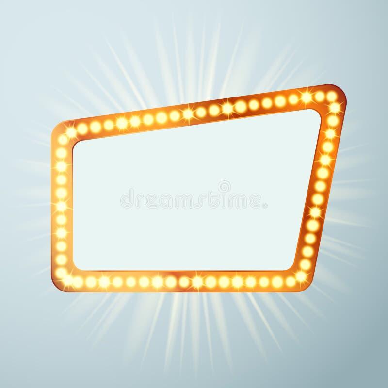 Retro segno dello spettacolo di luci di annuncio del circo del cinema di notte H luminosa illustrazione di stock