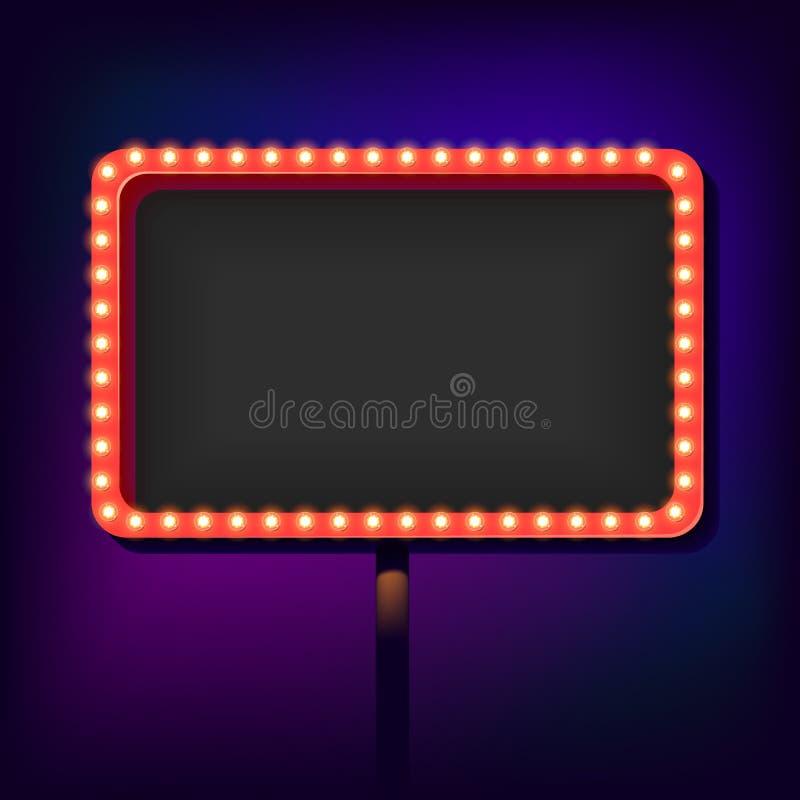 Retro segno di notte con le luci illustrazione di stock