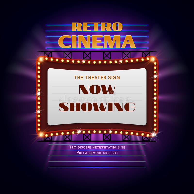 Retro segno leggero d'ardore del cinema 3d di hollywood illustrazione di stock