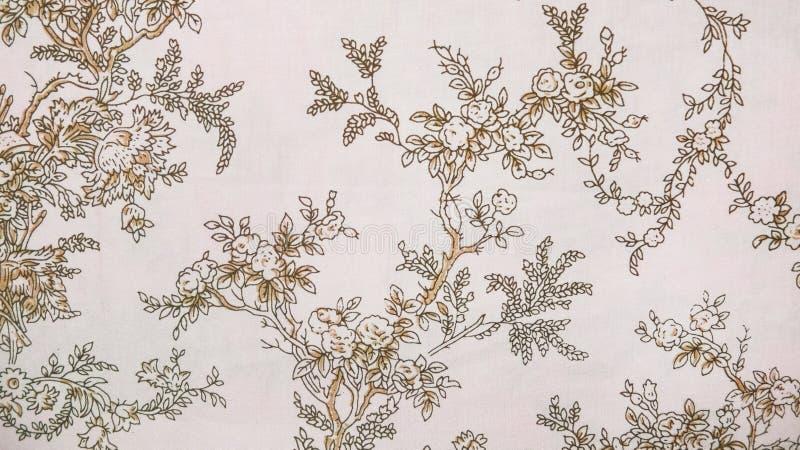 Retro Sepia van het Kant Bloemen Naadloze Patroon Bruine Stoffen Uitstekende Stijl Als achtergrond royalty-vrije stock afbeelding