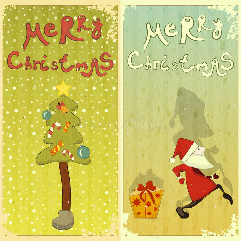 Retro Set of Christmas card stock illustration