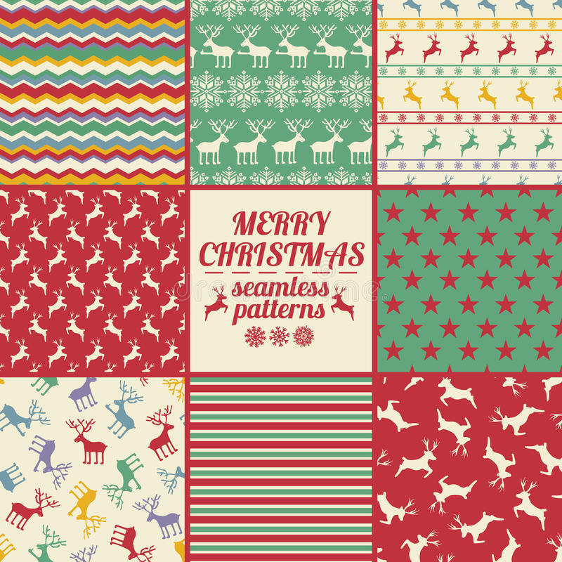 Retro Set Of Christmas And New Year Seamless Patterns With Deers stock illustration