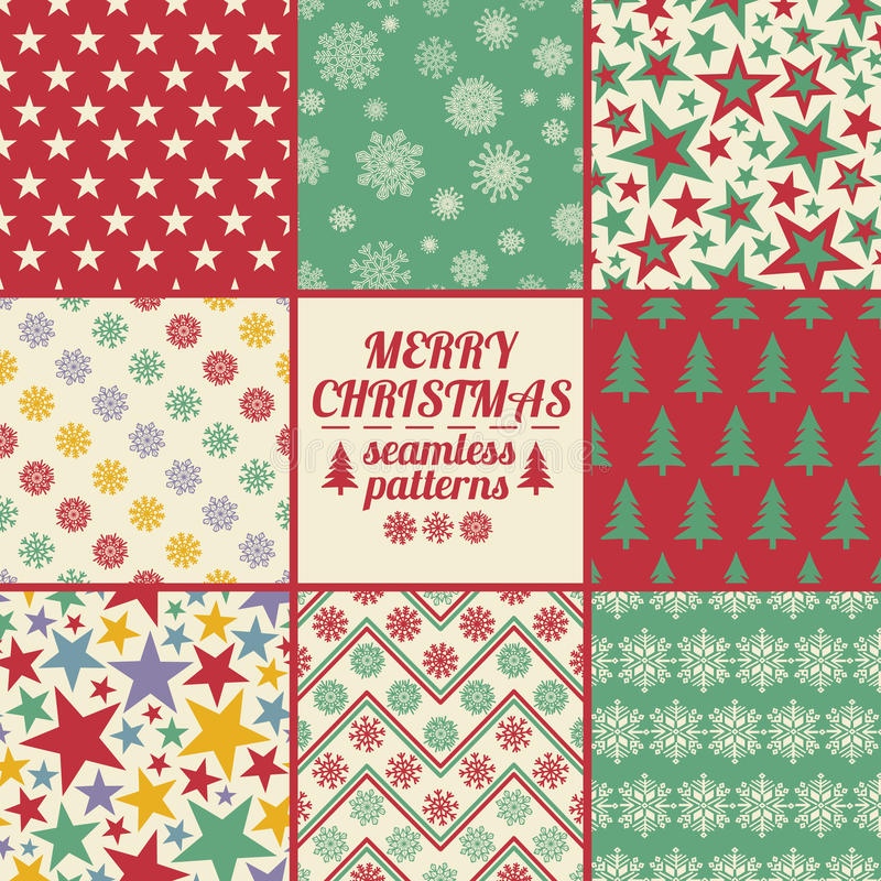 Retro Set Of Christmas And New Year Seamless Patterns. Retro set of Christmas and New Year seamless patterns with snowflakes. Colorful winter scrapbook design vector illustration