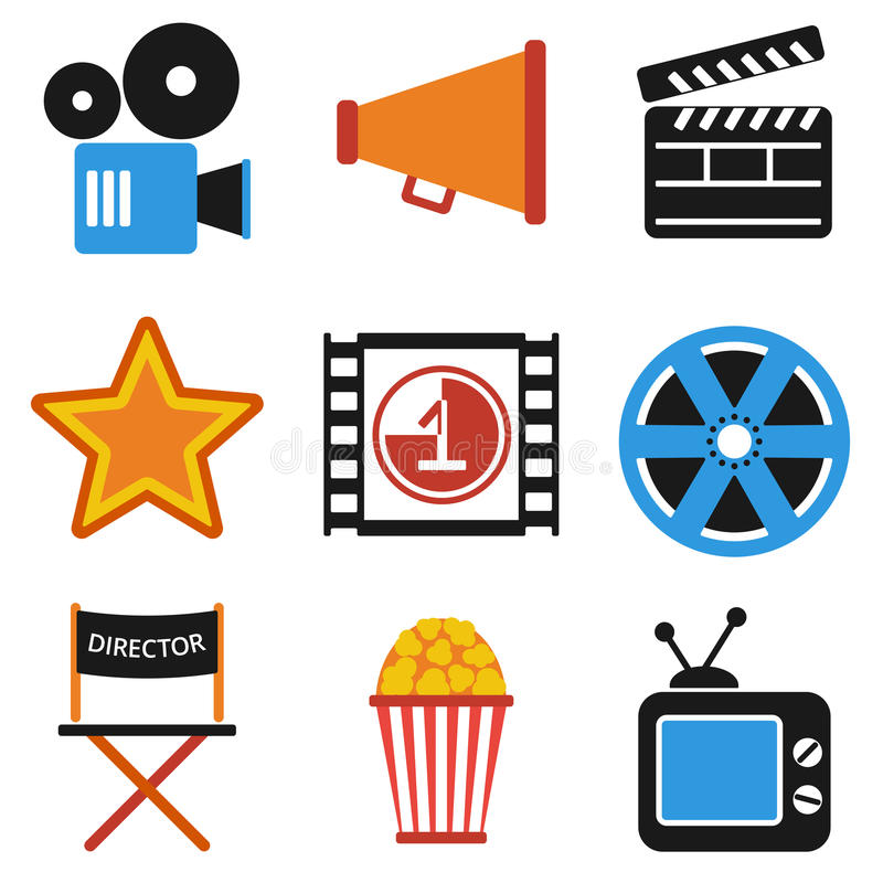 Retro set of cinema vector icons in flat design. Film Projector and film strip with countdown. Director chair and star movies award. Isolated on white vector illustration