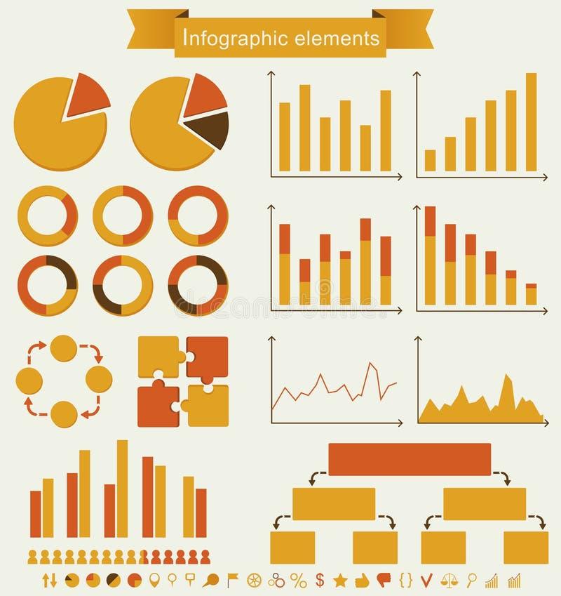 Retro set infographic elementy. ilustracji