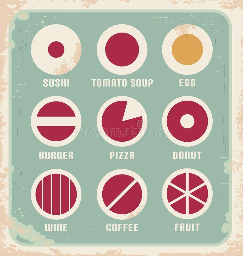 Retro Set Nahrungsmittelpiktogramm, -ikonen und -symbole lizenzfreie abbildung
