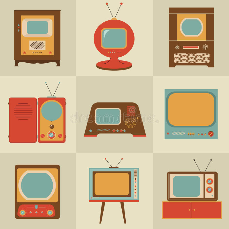 Retro set televisivo dell'annata royalty illustrazione gratis