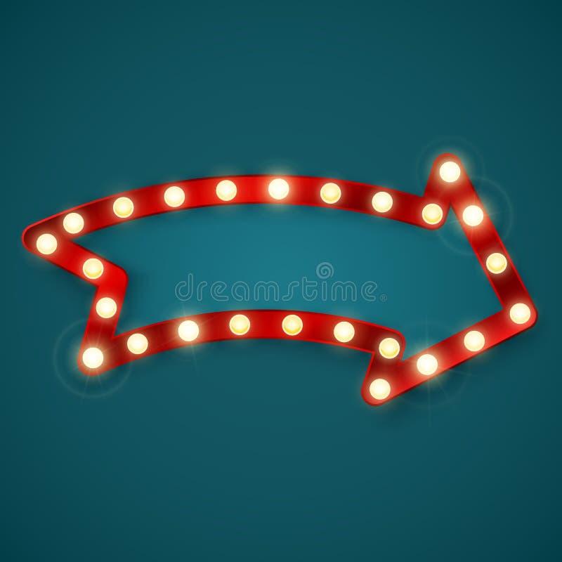 Retro shining arrow banner sign. Vintage billboard or bright signboard. Vector illustration.  vector illustration