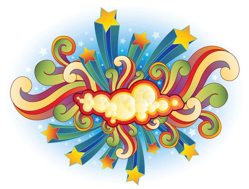 Retro shooting stars and swirls. Fun retro design with shooting stars and swirls with cloud element for copy in center stock illustration
