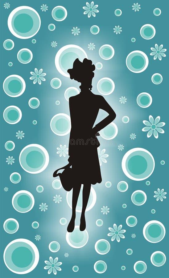 Retro Shopping Girl stock photo