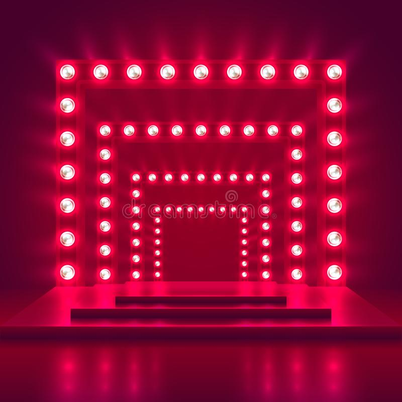 Retro show stage with light frame decoration. Game winner casino vector background vector illustration