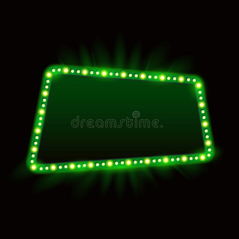 Retro Showtime 1950s Frame Design. Neon Lamps Advertising billboard on dark. Hollywood sign, casino light element. Vector Cinema vector illustration