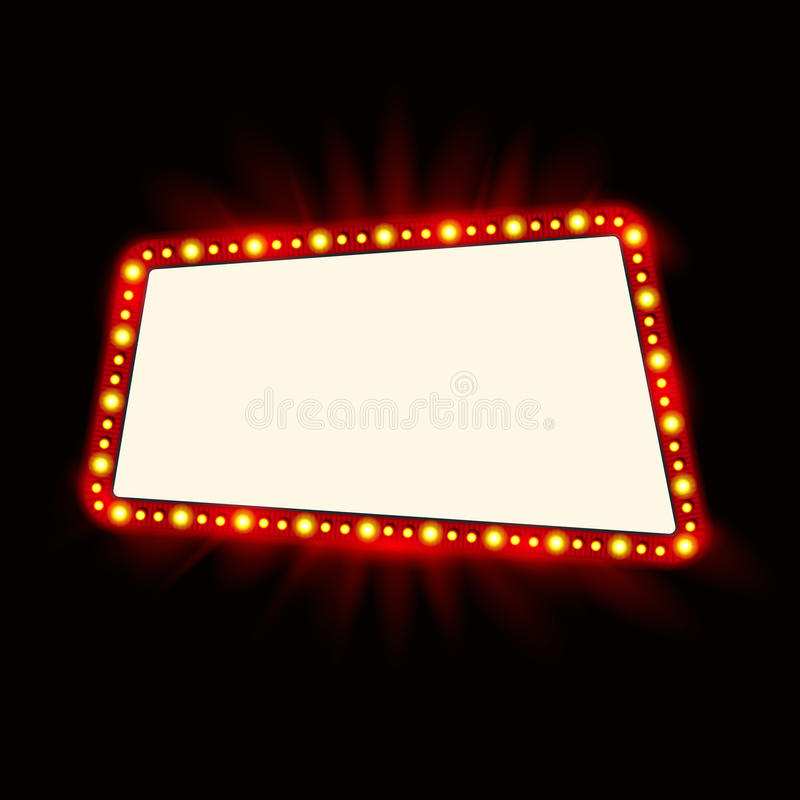Retro Showtime 1950s Sign Design. Neon Lamps billboard. Cinema and theater Signage Light Bulbs Frame for Sale flyers. Retro Showtime 1950s Sign Design. Neon stock illustration
