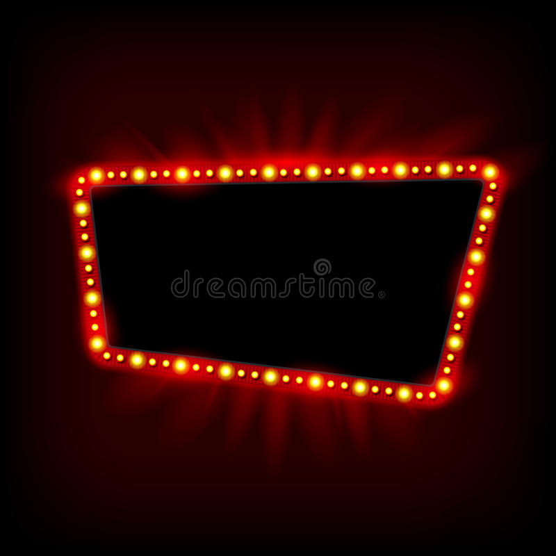 Retro Showtime 1950s Sign Design. Neon Lamps billboard. Cinema and theater Signage Light Bulbs Frame for Sale flyers. Retro Showtime 1950s Sign Design. Neon vector illustration
