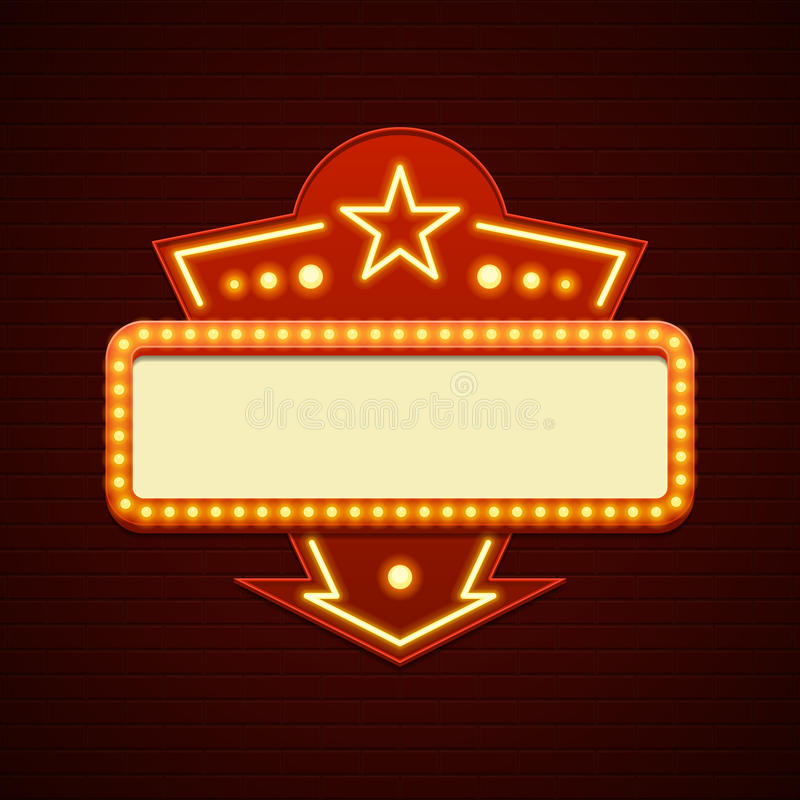 retro showtime sign design cinema signage light bulbs hollywood sign clipart Hollywood Walk O