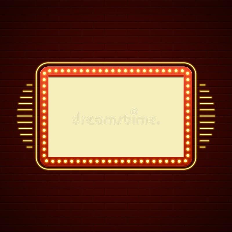 Retro Showtime Sign Design Cinema Signage Light Bulbs Billboard vector illustration