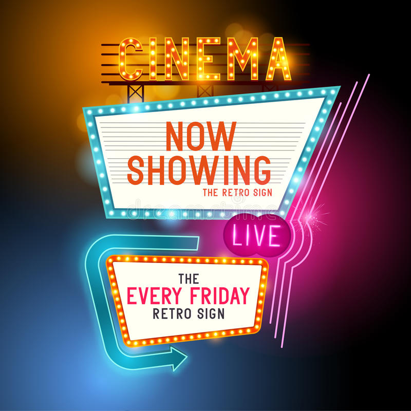 Retro Showtime Sign. Theatre cinema retro sign with glowing neon signs. Vector illustration vector illustration