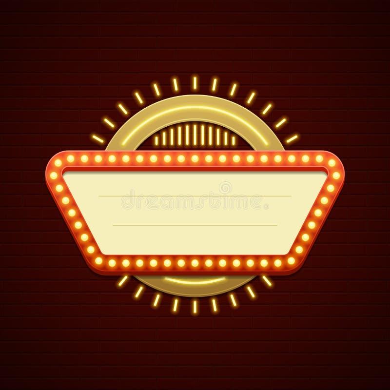 Retro Showtime teckendesign Lampor för ram och för neon för ljusa kulor för bioSignage på bakgrund för tegelstenvägg vektor illustrationer