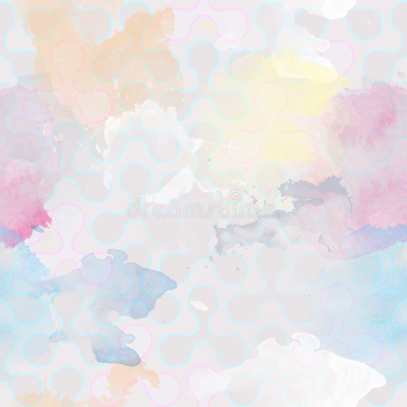 Retro- sich wiederholende Tapete watercolor Flecken, Flecke, spritzt - Weinlesemuster - Bitübersicht stock abbildung