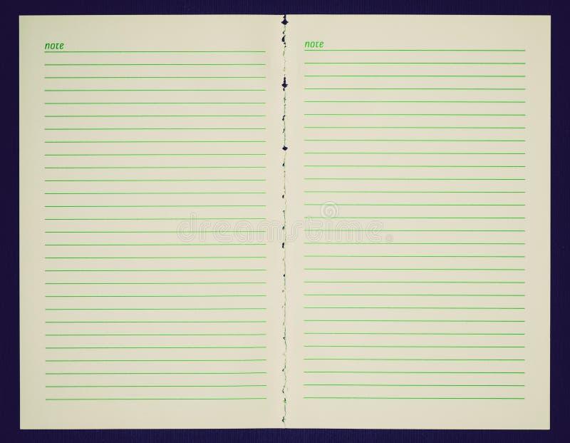 Retro sida för blickmellanrumsanteckningsbok arkivbilder