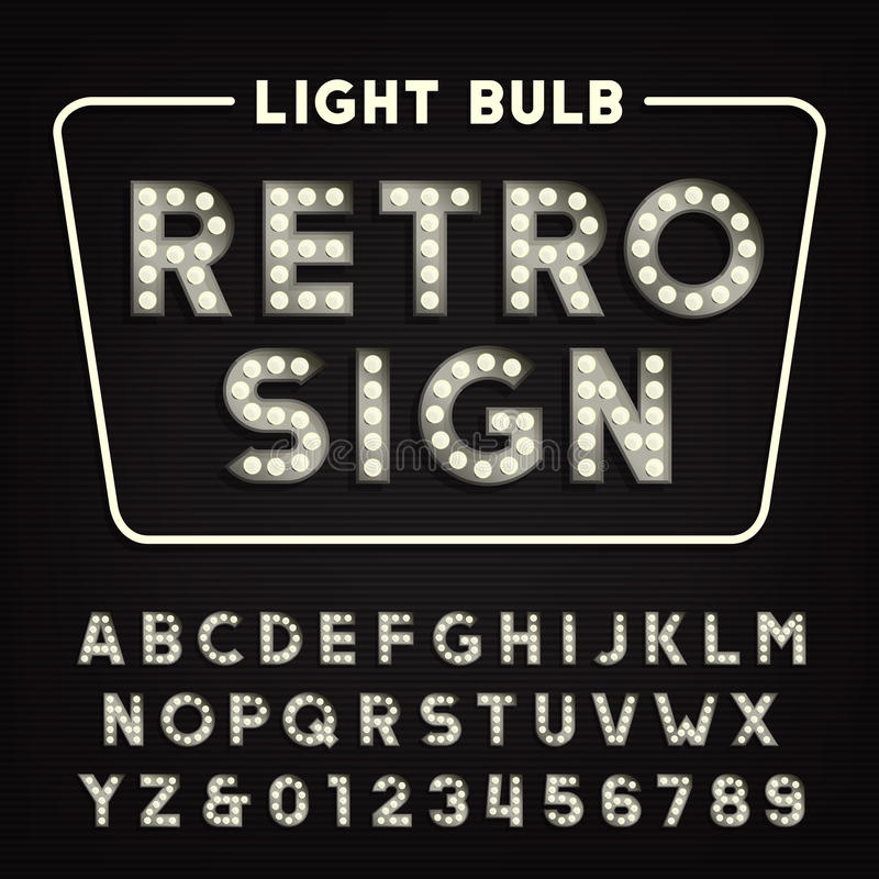 Download Retro Sign Alphabet Vintage Light Bulb Type Letters And Numbers Stock Vector