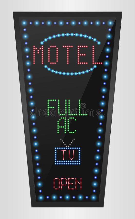Retro sign with blue lights and the word motel vector illustration