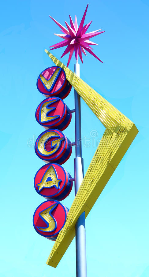 Retro sign in Las Vegas downtown stock images