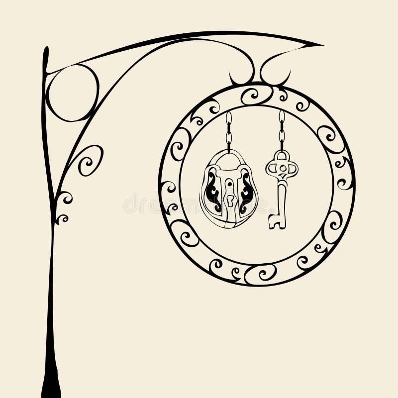 Retro sign lock and key royalty free illustration