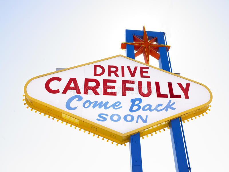 Retro Sign Saying Drive Carefully stock photo