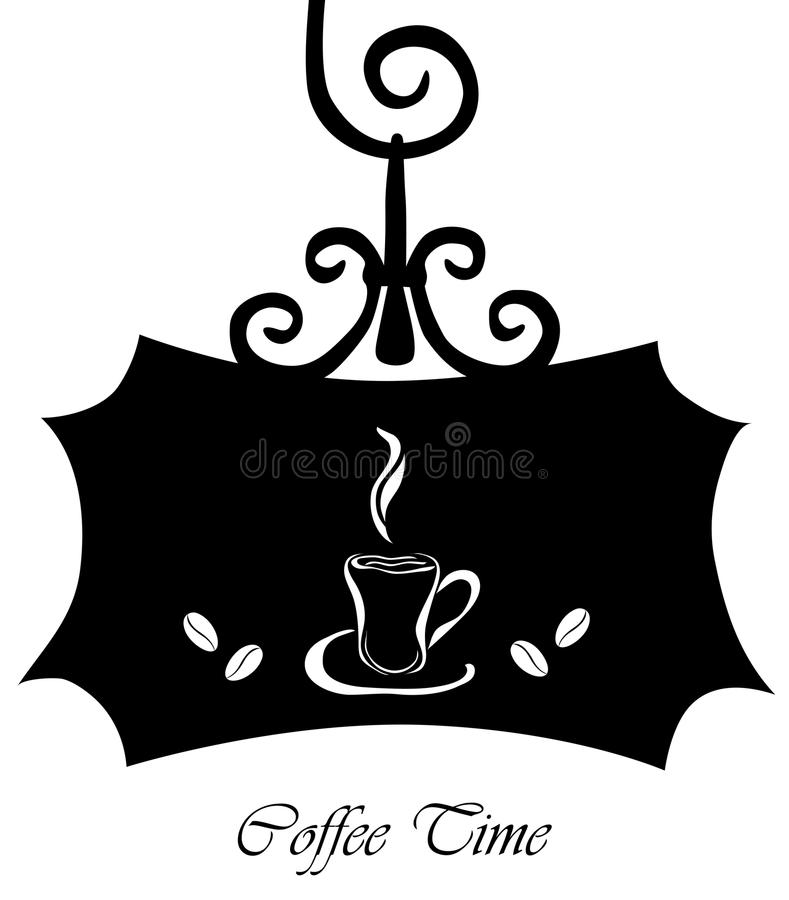 Retro signboard with coffee cup vector illustration