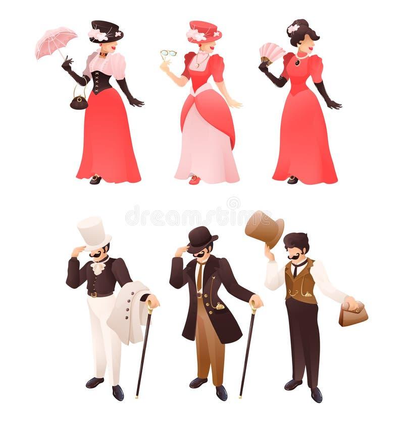 Retro signora e signore vittoriani moda con differenti accessori illustrazione vettoriale