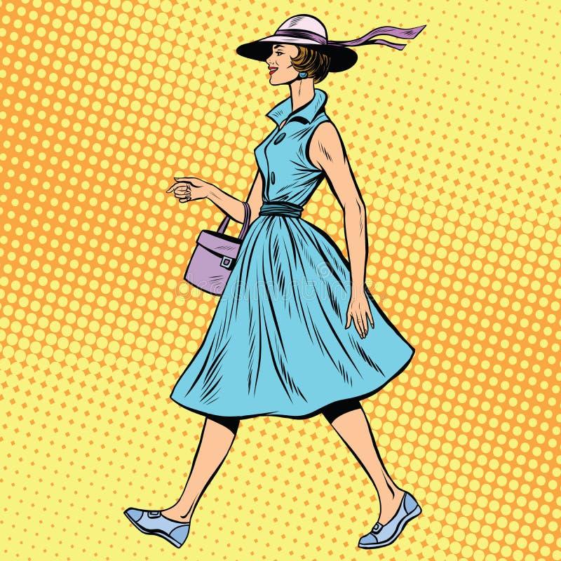 Retro signora in vestito e cappello da estate royalty illustrazione gratis