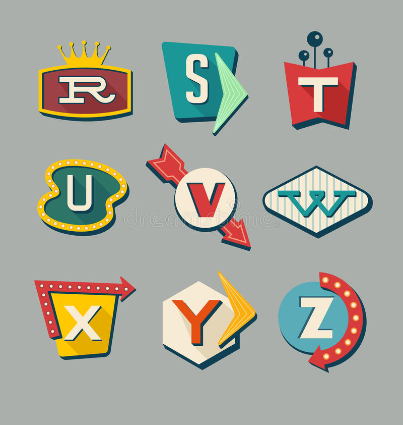 Retro signs alphabet. Letters on vintage style signs royalty free illustration