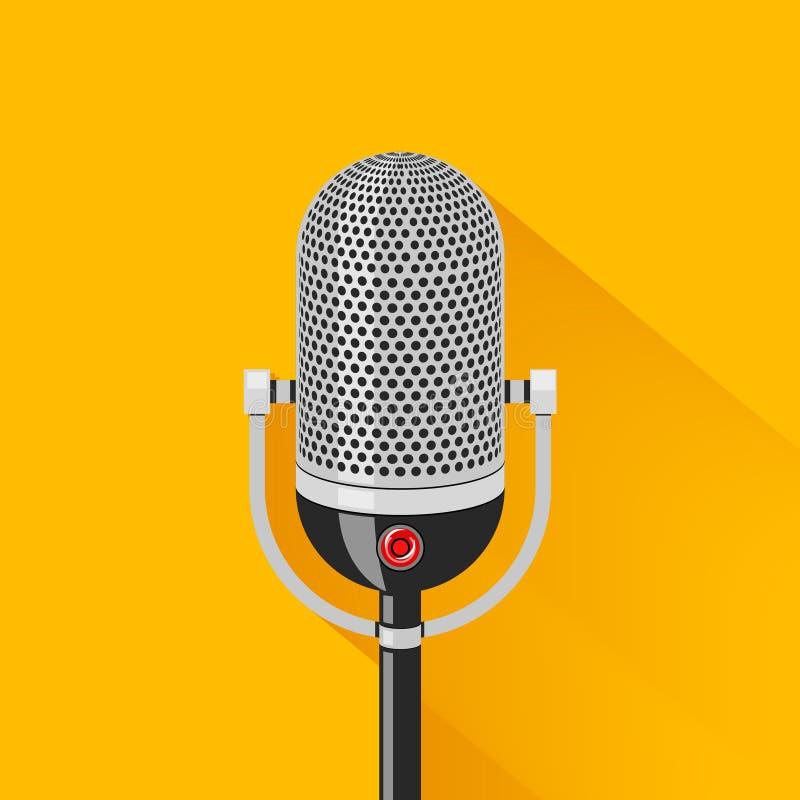 Retro siluetta del microfono della fase royalty illustrazione gratis