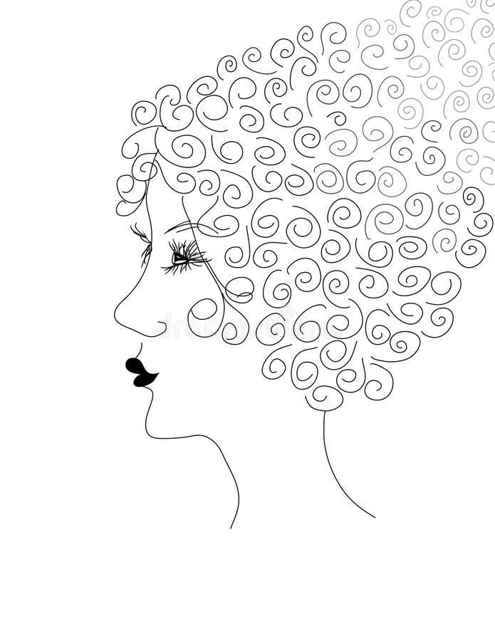 Retro siluetta della donna illustrazione di stock