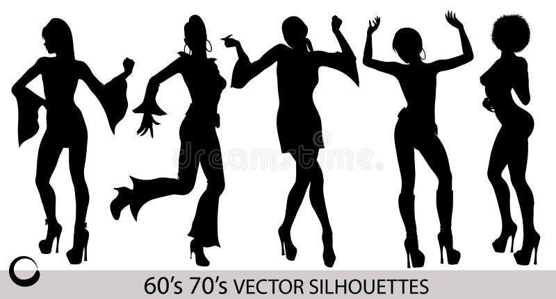 Retro siluette della ragazza di dancing illustrazione vettoriale