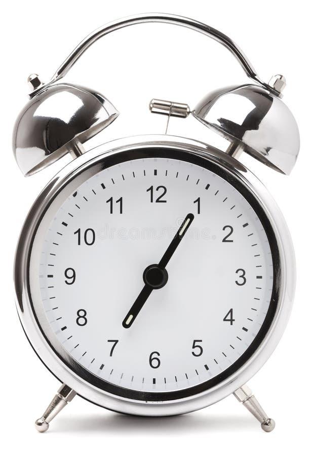 Retro silver alarm clock royalty free stock images